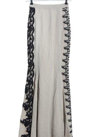 Zuhair Murad Gonna a godet grigio chiaro-nero motivo floreale elegante