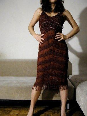 KAREN MILLEN Fringed Dress brown viscose