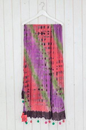 Zum HERFURT LUXURY Damen Schal Batik Bommel Rot Lila Bunt Handmade Baumwolle 3464