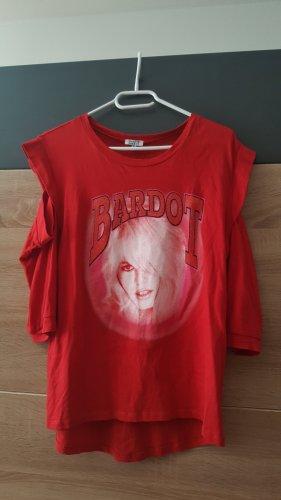 Brigitte Bardot Cut out top rood-wolwit