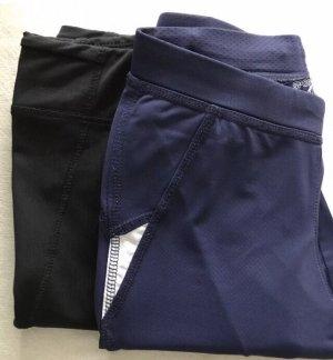 Zwei 3/4 Sporthosen / Run Tights / XS, 34 / Blau & Schwarz