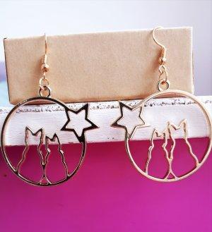 Zwei Katzen Vintage Retro Ohrringe in Gold mit Sternen