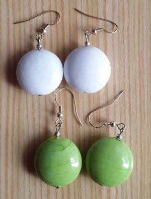Ohne Orecchino a pendente bianco-verde prato Vetro