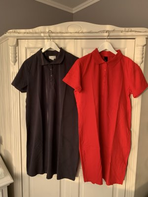 Heine Polo Dress red-dark blue cotton