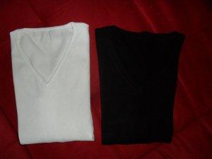 Gebreide twin set wit-zwart