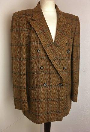 ZWEI REIHIGER BLAZER Tweed braun kariert Wollmischung maßgeschneidert Vintage Gr 38 - 40 M