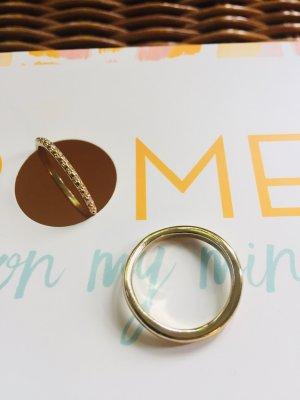 Zara Złoty pierścionek piaskowy brąz Tkanina z mieszanych włókien