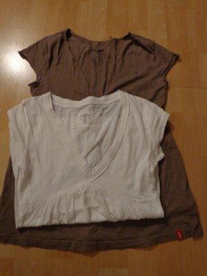 zwei süße T-Shirts, v. edc/H&M,Gr. S/M, khaki, weiß, top Zustand,neuwertig
