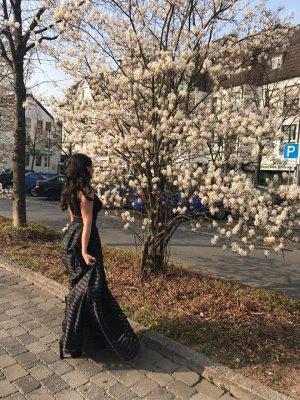 Zwei Teiler Abendkleid langer Rock +Top Prinzessinnen Kleid Schwarz Abiball