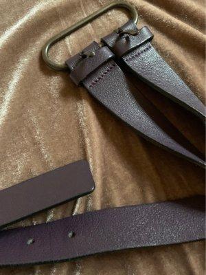 Cinque Cintura di pelle marrone-viola-rosso mora