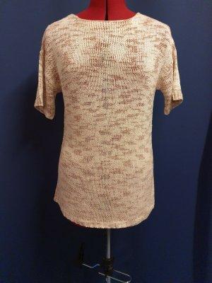 Sweter z krótkim rękawem w kolorze różowego złota-w kolorze białej wełny