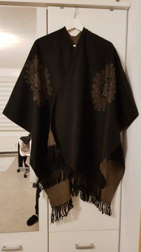 Poncho nero-marrone-grigio