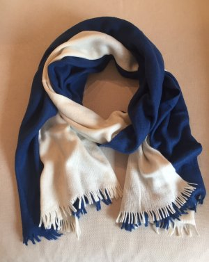 Woolen Scarf natural white-petrol