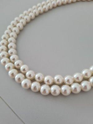 Vintage Collier de perles doré-blanc
