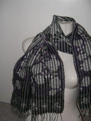 Zweiseitiger Schal, Lila Schwarz Grau