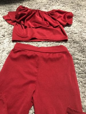 Twin set in jersey rosso scuro