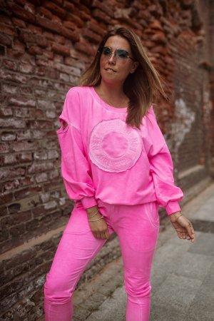 Bastet Garnitur damski różowy neonowy
