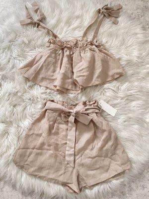 Cropped shirt beige