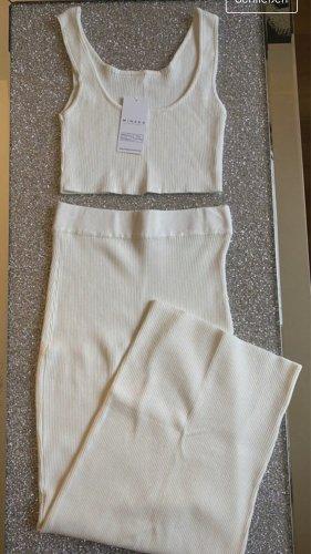 Minaka Boutique Dzianinowy podwójny zestaw  biały
