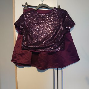 Zweiteiler/kurzes T-shirt/Rock/violett