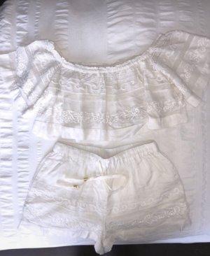 L*space Short taille haute blanc coton