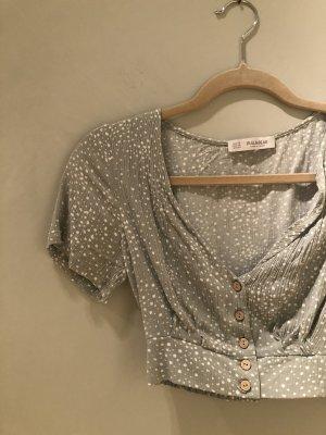Pull & Bear Cropped shirt wit-grijs-groen