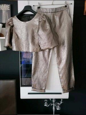 Zweiteiler Set von Zara, Größe S/M, Blogger Kombi set, Gold, Hose + Cropbluse