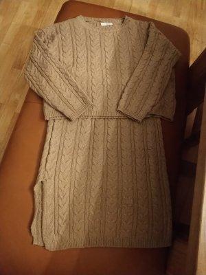 Ensemble en tricot beige-chameau tissu mixte