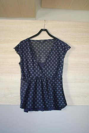 Jake*s A-lijn top wit-donkerblauw Polyester