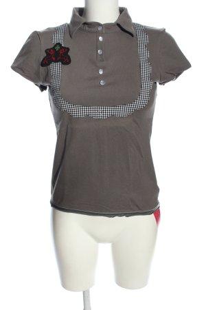 Zweitracht Folkloristische hemd lichtgrijs geruite print casual uitstraling