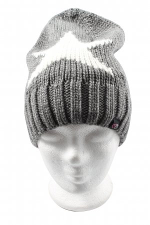 Zwillingsherz Bobble Hat light grey-white themed print casual look