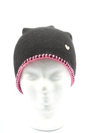Zwillingsherz Strickmütze schwarz-pink Casual-Look
