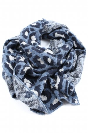 Zwillingsherz Knitted Scarf blue-white leopard pattern casual look
