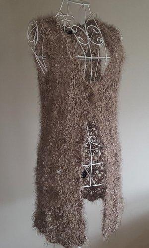 Betty Barclay Chaleco de punto largo marrón claro tejido mezclado