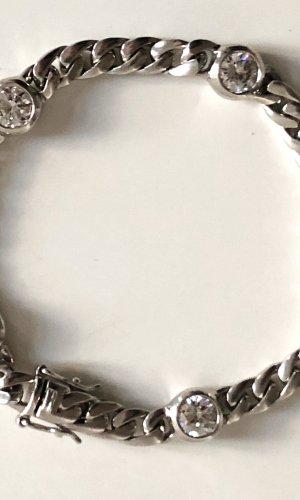 925er Silber Armband 5 wunderschöne Kristallen o. Bergkristallen Meisterpunze