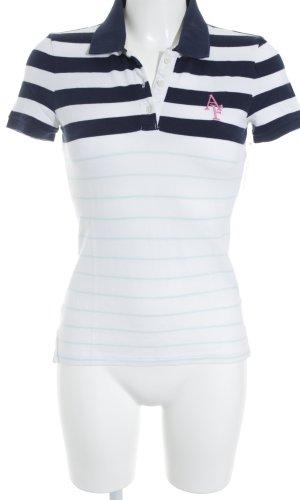 Abercrombie & Fitch Polo-Shirt weiß-dunkelblau Streifenmuster Segel-Look