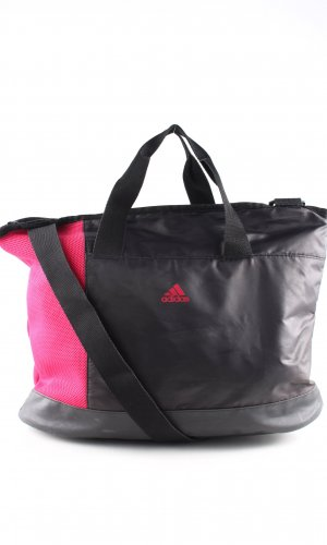 Adidas Sports Bag black-pink striped pattern athletic style