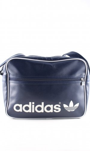 Adidas Sports Bag blue-white printed lettering casual look