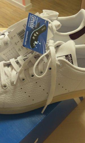 adidas stan smith originals gr. 38,5 neu leder weiß bordeaux sneaker