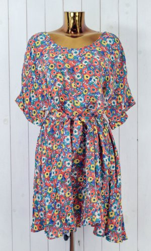 American Vintage Robe chemise rouge clair-bleu fluo cupro