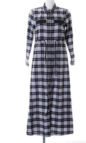 Robe chemise noir-blanc motif à carreaux style décontracté