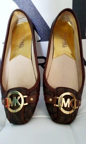 Michael Kors Bailarinas con punta color oro-marrón oscuro Cuero