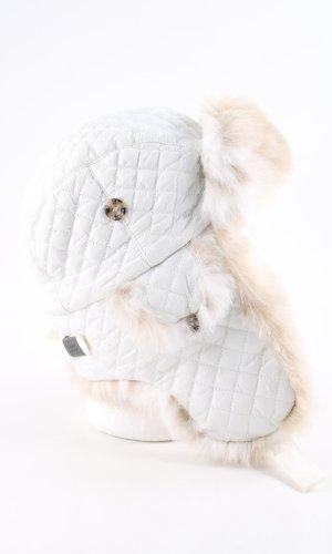 Barts Chapeau en fourrure blanc-crème motif de courtepointe style décontracté