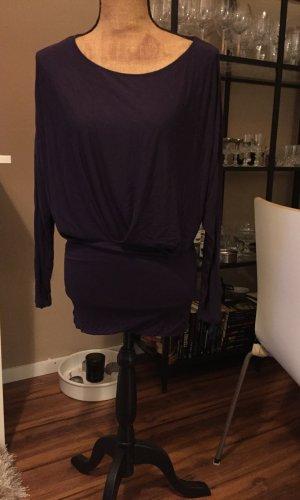 Hallhuber Lange blouse bruin-paars-donkerpaars