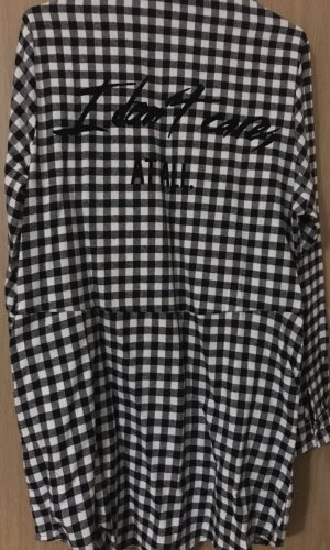 Lange blouse wit-zwart