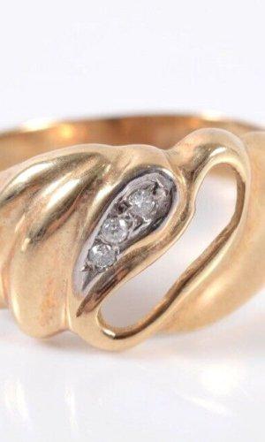 Brillant 585er Gold Ring mit 3 Diamanten 14kt Goldring