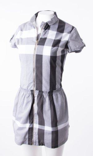 BURBERRY - Kurzarmkleid mit Reißverschluss Grau-Weiß kariert