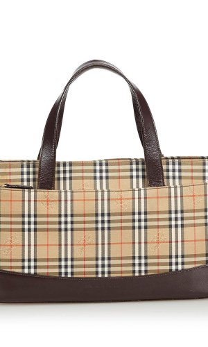 Burberry Plaid Nylon Handbag