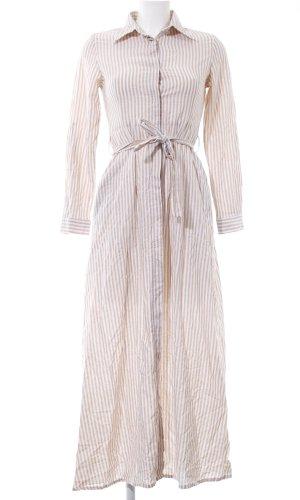 Robe chemise blanc-brun motif rayé élégant