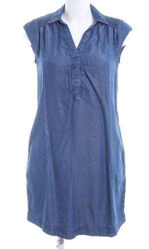 Cartoon Robe chemise bleu acier-bleu foncé style décontracté